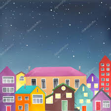 different houses on the starry sky background u2014 stock vector