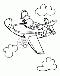 funny jet plane coloring page for kids transportation coloring