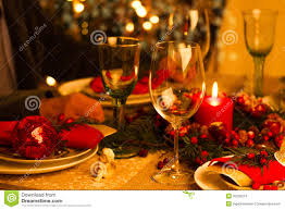 Holiday Decorations Christmas Table Setting With Holiday Decorations Stock Images