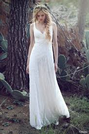 bohemian theme inspired lace embellished wedding gowns trendy