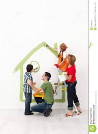 Their Home by Happy Family Painting Their Home Together Royalty Free Stock Image