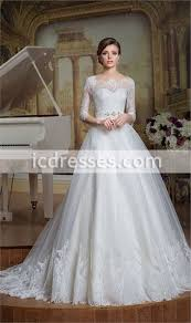 Vintage Princess Lace Wedding Dress Modest Wedding Dresses With