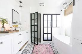 Bathroom Floor Rugs Pink Rug On Black And White Cement Tile Bathroom Floor