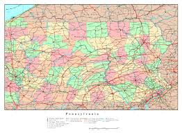 Usa Map With Rivers by Large Detailed Administrative Map Of Pennsylvania State With Roads