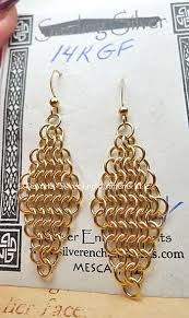 14 carat gold earrings chainmaille earrings 14 karat gold filled diamond chain maille