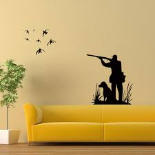 hunter with dog birds wall art mural decor hunting wallpaper decor