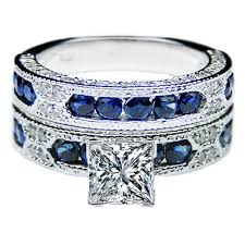 Birthstone Wedding Rings by Princess Cut Diamond Vintage Engagement Ring Blue Sapphire Accents
