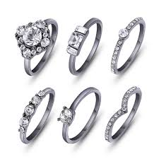 black zircon rings images 6pcs set hot shiny gold color crystal austrian zircon rings set jpg