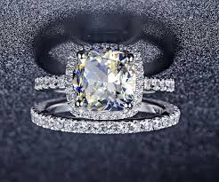 diamond rings aliexpress images Buy 3 55ct cushion cut synthetic diamonds jpg