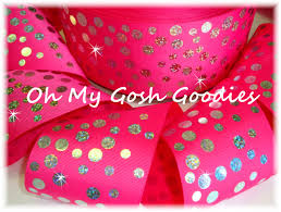 pink polka dot ribbon oh my gosh goodies ribbon glitter dots cheer team cheer ribbon
