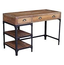reclaimed wood writing desk amazon com luca reclaimed wood rustic iron industrial loft desk