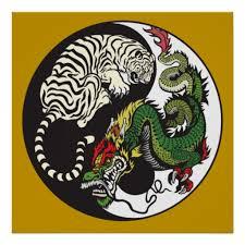 green and white tiger yin yang symbol poster green