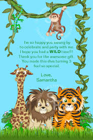 Jungle Birthday Card Jungle Safari Zoo Animals Or Any Theme Birthday Thank You