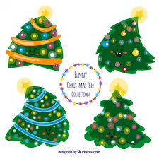 funny christmas trees collection vector free download