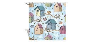 Birdhouse Shower Curtain Amazon Com Cafepress Cute Birdhouses Shower Curtain