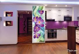 kitchen backsplash stickers puple floral models of stickers for kitchen with purple paint wall