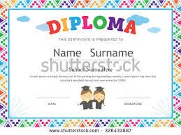 preschool certificates kids diploma preschool certificate elementary school stock vector