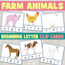 farm animals beginning letter clip cards itsy bitsy
