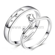 couples wedding rings images Sterling silver matching flower couples wedding rings set for 2 jpg
