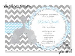 blue elephant boy baby shower invitation baby elephant