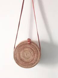 zhierna bali vintage handmade crossbody leather bag round straw