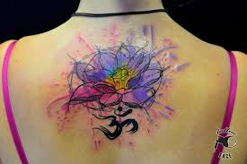 gorgeous watercolor lotus tattoo on upperback in 2017 real photo
