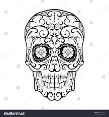 Mexican Flag Stencil Black White Tattoo Skull Day Dead Stock Illustration 326491631