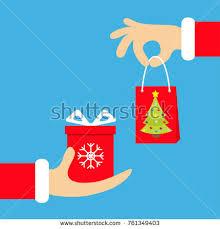 santa claus hand giving taking shopping stock vector 759487723
