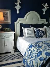 Blue Upholstered Headboard Blue And Cream Decorating Ideas Bedroom Beach Style With Blue
