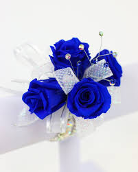 royal blue corsage and boutonniere blue corsage