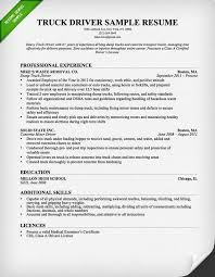 Resume Category Examples by Truck Driver Resume Ilivearticles Info