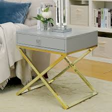 X Base Side Table Furniture Of America Shea Contemporary Champagne X Base Side Table