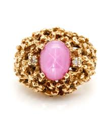 pink star diamond ring 14k yellow gold pink star sapphire and diamond ring ebth