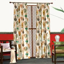 Vintage Green Curtains Yellow And Gray Patterned Linen Cotton Blend Print Vintage Color