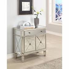 Mirrored Accent Table Mirrored Glass Console 2 Door Chest Nightstand Storage Mirror