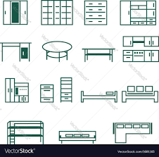 Furniture For Floor Plans Furniture For Home And Office Icon Set Royalty Free Vector