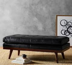 Leather Ottoman Tufted Carson Tufted Leather Ottoman Pottery Barn