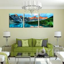 Prints For Home Decor Aliexpress Com Buy 3 Panel Nature Scenery Wall Art Mountain Lake