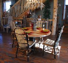 lewis and clark round rustic hickory table niangua furniture