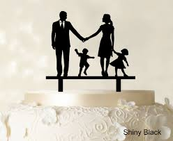 family wedding cake toppers wedding cake topper family silhouette and groom with child