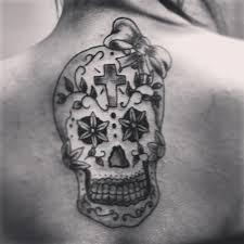 sugar skull with bow on back tattooshunt com
