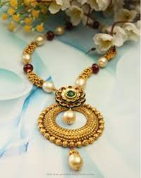 pearl ruby necklace images Gold designer pearl ruby necklace from manubhai south india jewels jpg