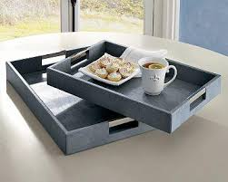 leather tray for coffee table embossed grey leather tray
