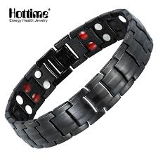 man magnetic bracelet images Hottime double row black gun plated men health magnetic bracelet jpg