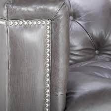 Grey Leather Tufted Sofa by Contemporary Leather Tufted Nailhead Sofa Safavieh Com