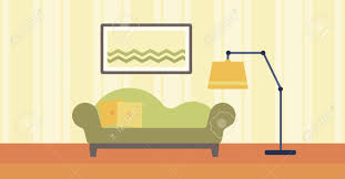 cartoon living room background background of living room with sofa and picture on the wall vector