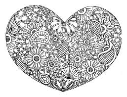 love heart with flowers zen and anti stress coloring pages for
