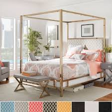 solivita queen size chrome metal poster bed by inspire q bold