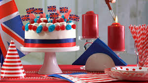 Dessert Flags Uk British Party Table With Cake Decorated With Union Jack Flags