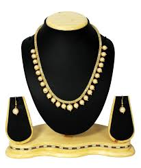 crystal design necklace images Buy white moti crystal designer mala necklace with earring set jpg